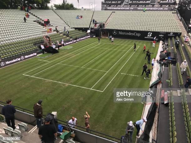 Roger Federer of Switzerlands unpacks his new racket during day 3 of the Mercedes Cup at Tennisclub Weissenhof on June 13 2018 in Stuttgart Germany...