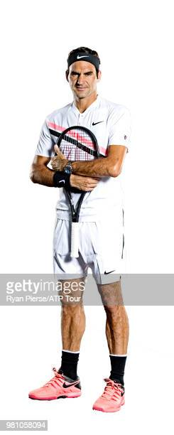 Roger Federer of Switzwerland poses for portraits during the Australian Open at Melbourne Park on January 11 2018 in Melbourne Australia