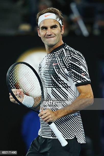 Roger Federer of Swizterland celebrates his win in his third round match against Tomas Berdych of the Czech Republic walks on on day five of the 2017...
