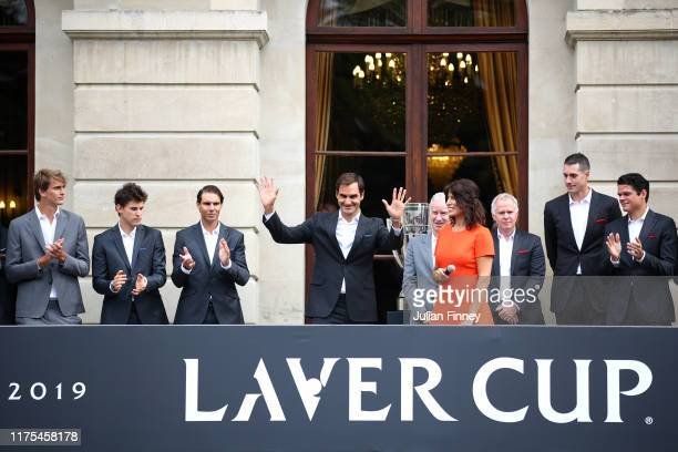 Roger Federer of Team Europe acknowledges fans as he is presented to the crowd at Palais Eynard during the official welcome ceremony prior to the...