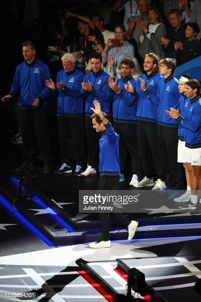 Roger Federer of Team Europe acknowledges the fans as he is introduced during Day One of the Laver Cup 2019 at Palexpo on September 20, 2019 in...