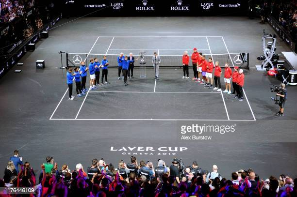 Roger Federer of Team Europe acknowledges the fans in the presentation ceremony during Day Three of the Laver Cup 2019 at Palexpo on September 22,...