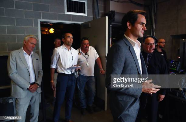 Roger Federer of Team Europe and his captain Bjorn Borg wait backstage to be unveiled at the official welcome ceremony prior to the Laver Cup at the...