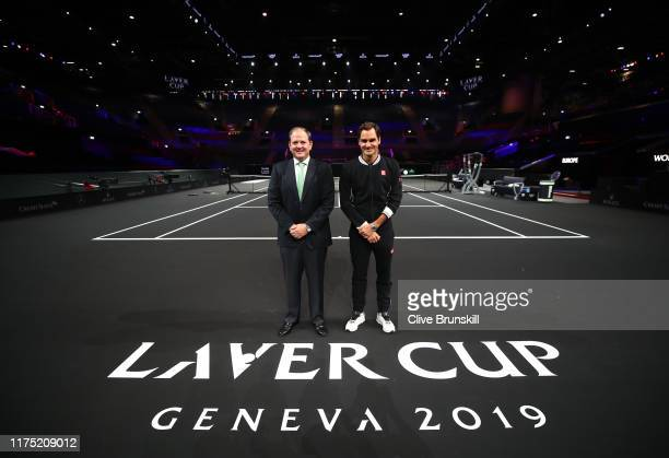 Roger Federer of Team Europe and Tony Godsick, President and CEO of TEAM8 and Chairman of the Laver Cup pose for a photo as they take a first look at...
