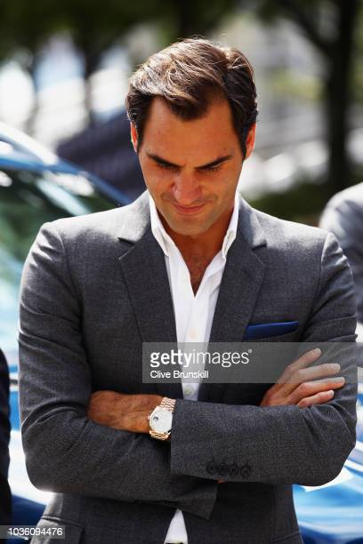 Roger Federer of Team Europe arrives at the official welcome ceremony prior to the Laver Cup at the United Center on September 19 2018 in Chicago...