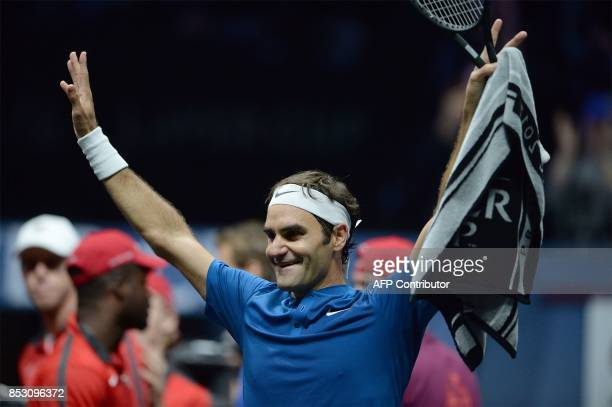Roger Federer of Team Europe celebrates after defeating Nick Kyrgios of Team World at the Laver Cup on September 24 2017 in Prague / AFP PHOTO /...