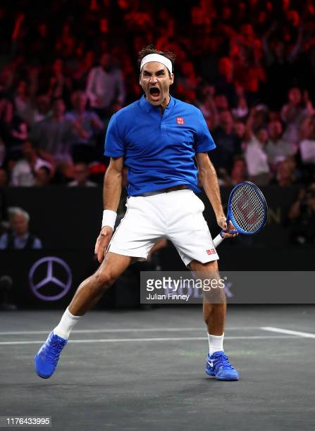 Roger Federer of Team Europe celebrates defeating John Isner of Team World during Day Three of the Laver Cup 2019 at Palexpo on September 22 2019 in...