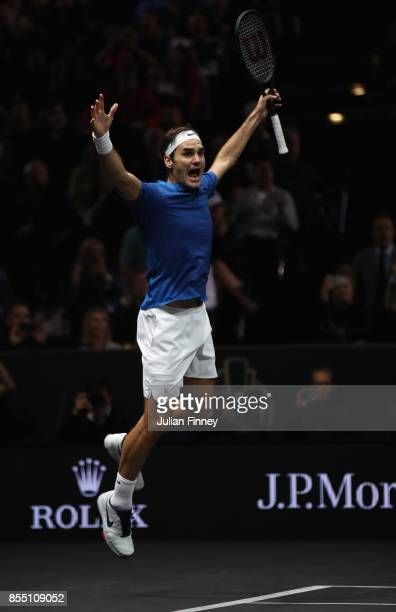 Roger Federer of Team Europe celebrates defeating Nick Kyrgios of Team World to win the Laver Cup during the final day of the Laver Cup at the O2...
