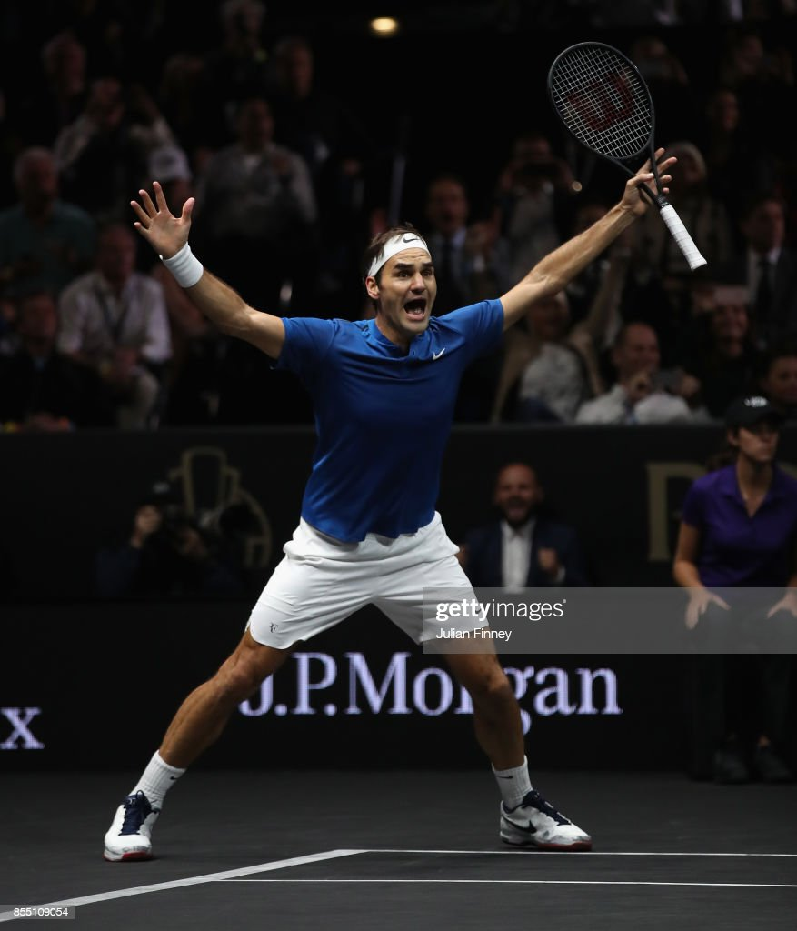 Roger Federer of Team Europe celebrates defeating Nick Kyrgios of Team World to win the Laver Cup during the final day of the Laver Cup at the O2 Arena on September 24, 2017 in Prague, Czech Republic. The Laver Cup consists of six European players competing against their counterparts from the rest of the World. Europe will be captained by Bjorn Borg and John McEnroe will captain the Rest of the World team. The event runs from 22-24 Sept.