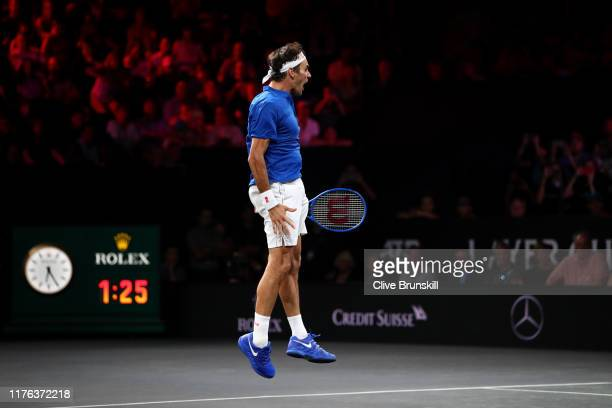 Roger Federer of Team Europe celebrates match point in his singles match against John Isner of Team World during Day Three of the Laver Cup 2019 at...