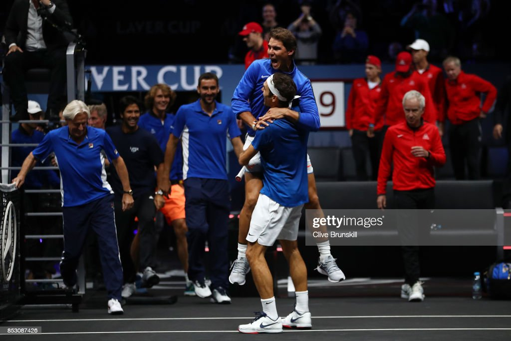 Roger Federer of Team Europe celebrates with Rafael Nadal of Team Europe after winning the Laver Cup on match point during his mens singles match against Nick Kyrgios of Team World on the final day of the Laver cup on September 24, 2017 in Prague, Czech Republic. The Laver Cup consists of six European players competing against their counterparts from the rest of the World. Europe will be captained by Bjorn Borg and John McEnroe will captain the Rest of the World team. The event runs from 22-24 September.
