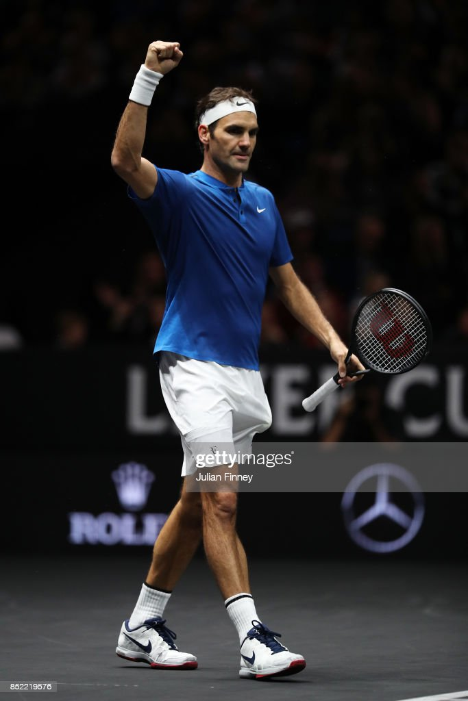 Roger Federer of Team Europe celebrtes after winning his singles match against Sam Querrey of Team World on Day 2 of the Laver Cup on September 23, 2017 in Prague, Czech Republic. The Laver Cup consists of six European players competing against their counterparts from the rest of the World. Europe will be captained by Bjorn Borg and John McEnroe will captain the Rest of the World team. The event runs from 22-24 September.