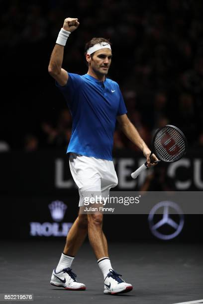 Roger Federer of Team Europe celebrtes after winning his singles match against Sam Querrey of Team World on Day 2 of the Laver Cup on September 23...
