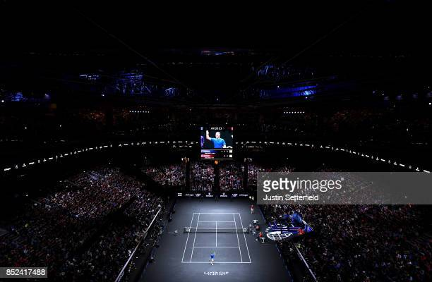 Roger Federer of Team Europe celebrtes after winning match point in his singles match against Sam Querrey of Team World on Day 2 of the Laver Cup on...