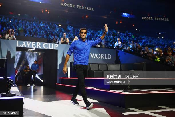 Roger Federer of Team Europe is introduced to the crowd on the first day of the Laver Cup on September 22 2017 in Prague Czech Republic The Laver Cup...