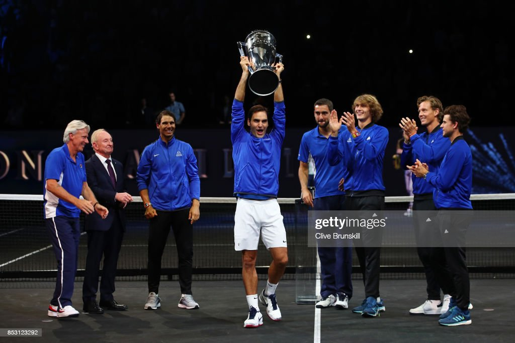 Roger Federer of Team Europe lift the Laver Cup trophy with Marin Cilic, Bjorn Borg, Rafael Nadal, Rod Laver, Alexander Zverev, Tomas Berdych and Dominic Thiem of Team Europe on the final day of the Laver cup on September 24, 2017 in Prague, Czech Republic. The Laver Cup consists of six European players competing against their counterparts from the rest of the World. Europe will be captained by Bjorn Borg and John McEnroe will captain the Rest of the World team. The event runs from 22-24 September.