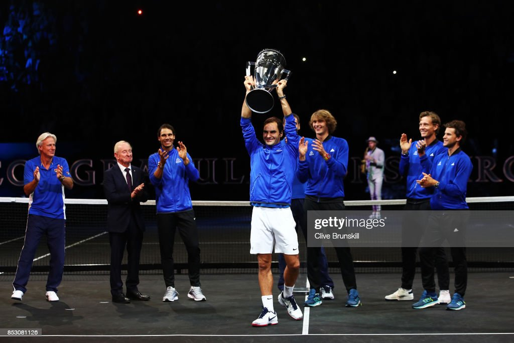 Roger Federer of Team Europe lifts the Laver Cup trophy on the final day of the Laver cup on September 24, 2017 in Prague, Czech Republic. The Laver Cup consists of six European players competing against their counterparts from the rest of the World. Europe will be captained by Bjorn Borg and John McEnroe will captain the Rest of the World team. The event runs from 22-24 September.