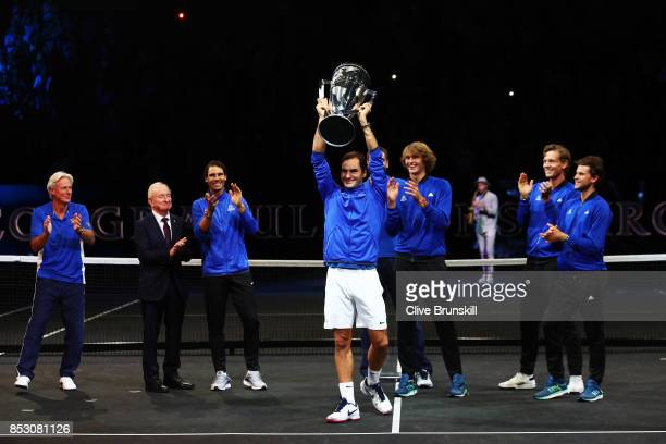 Roger Federer of Team Europe lifts the Laver Cup trophy on the final day of the Laver cup on September 24 2017 in Prague Czech Republic The Laver Cup...