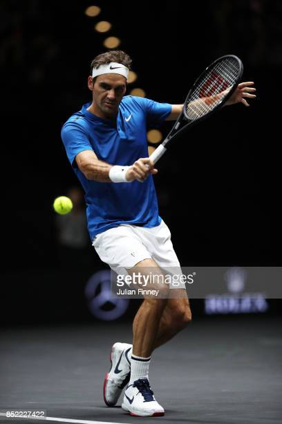 Roger Federer of Team Europe plays a backhand during his singles match against Sam Querrey of Team World on Day 2 of the Laver Cup on September 23...