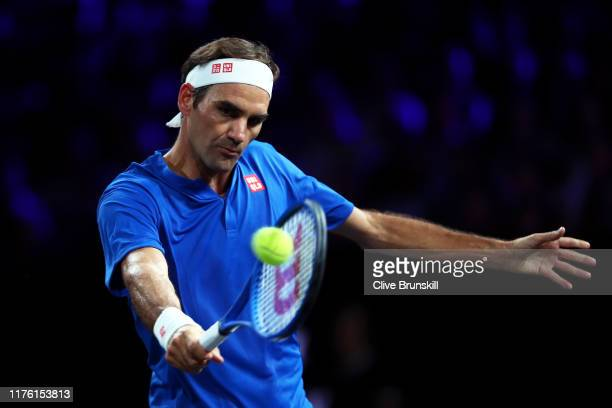 Roger Federer of Team Europe plays a backhand in his singles match against Nick Kyrgios of Team World during Day Two of the Laver Cup 2019 at Palexpo...