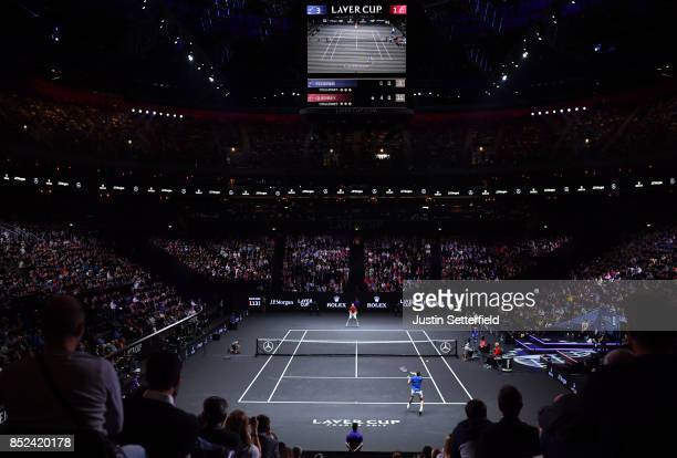 Roger Federer of Team Europe plays a forehand during his singles match against Sam Querrey of Team World on Day 2 of the Laver Cup on September 23...