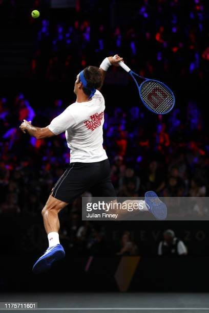 Roger Federer of Team Europe plays a smash during a practice session ahead of the Laver Cup 2019 at Palexpo on September 19, 2019 in Geneva,...