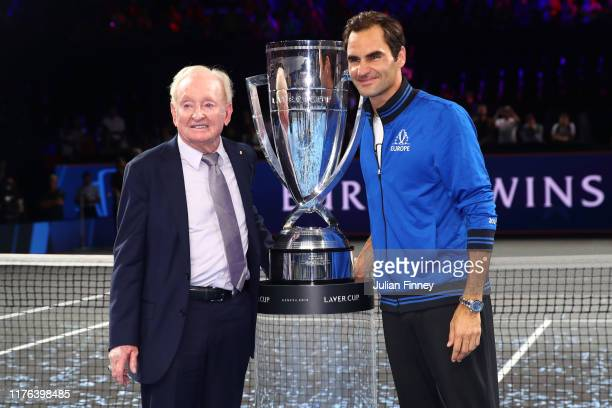 Roger Federer of Team Europe poses with Rod Laver and the trophy after winning the Laver Cup during Day Three of the Laver Cup 2019 at Palexpo on...