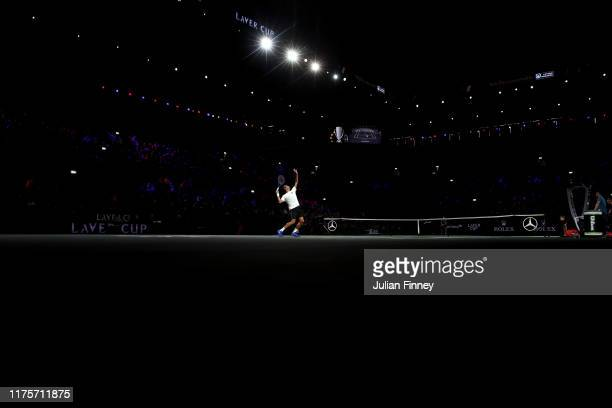 Roger Federer of Team Europe serves during a practice session ahead of the Laver Cup 2019 at Palexpo on September 19, 2019 in Geneva, Switzerland....