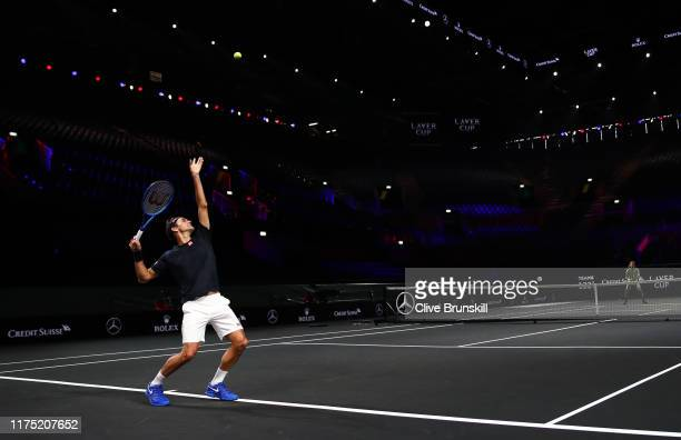 Roger Federer of Team Europe serves during a practice session prior to the Laver Cup at Palexpo on September 17, 2019 in Geneva, Switzerland. The...