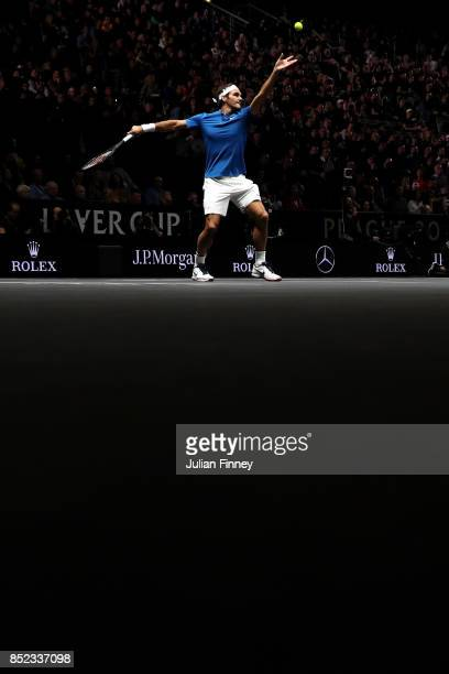 Roger Federer of Team Europe serves during his singles match against Sam Querrey of Team World on Day 2 of the Laver Cup on September 23 2017 in...