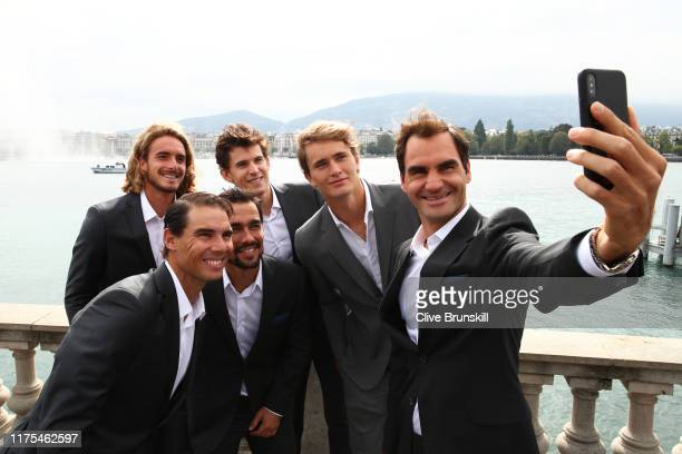 Roger Federer of Team Europe takes a selfie with teammates Alexander Zverev, Dominic Thiem, Fabio Fognini, Stefanos Tsitsipas, and Rafael Nadal prior...