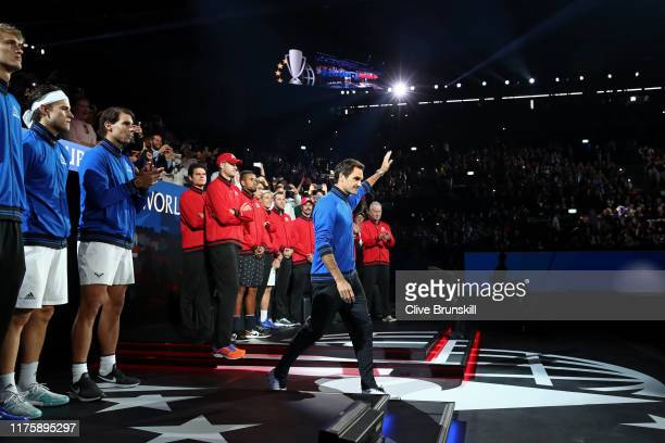 Roger Federer of Team Europe waves to the fans as he is introduced during Day One of the Laver Cup 2019 at Palexpo on September 20, 2019 in Geneva,...