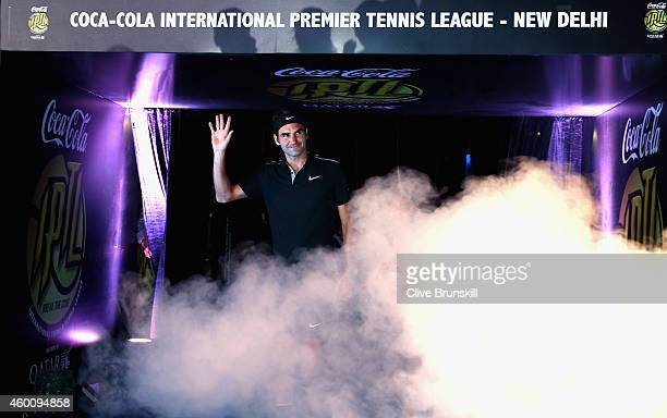 Roger Federer of the Indian Aces makes his IPTL debut for his team in their match against the Singapore Slammers during the Coca-Cola International...