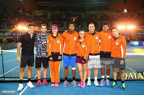 Roger Federer of the Indian Aces makes his IPTL debut in the team line up alongside Pete Sampras who also makes his debut for the Aces as they pose...