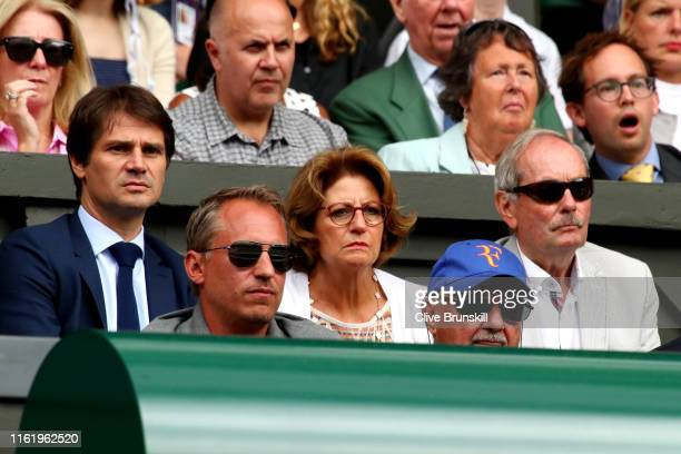 Roger Federer parents Robert Federer and Lynette Federer watch the Men's Singles final between Roger Federer of Switzerland and Novak Djokovic of...