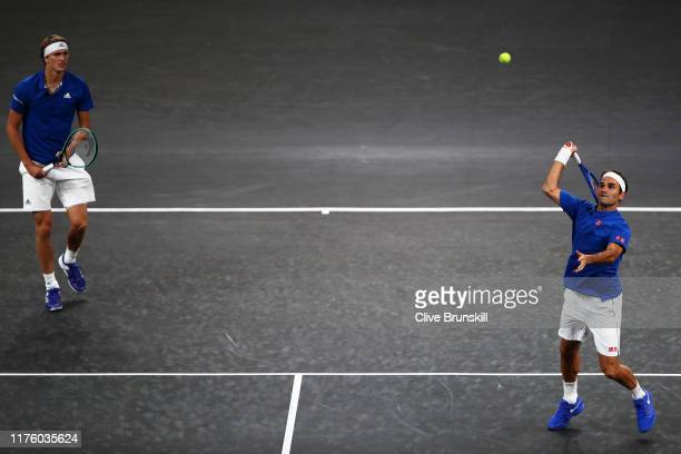 Roger Federer playing partner of Alexander Zverev of Team Europe plays a forehand during their doubles match against Jack Sock and Denis Shapovalov...