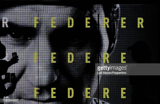 Roger Federer portrayed on the electronic screens prior to his match against Novak Djokovic on Day Five of the Nitto ATP Finals at The O2 Arena on...