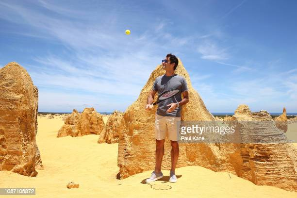 Roger Federer poses at the Pinnacles Desert ahead of the 2019 Hopman Cup on December 27 2018 in Cervantes Australia