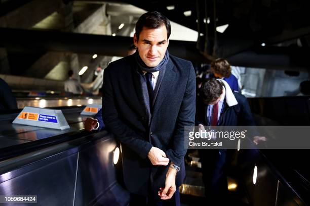 Roger Federer preparing to take the London Underground en route to the Nitto ATP Finals Official Launch presented by Moet & Chandon at London's...