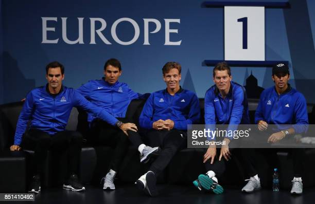 Roger Federer Rafael Nadal Tomas Berdych Thomas Enqvist and Fernando Verdasco of Team Europe looks on as Dominic Thiem of Team Europe plays his...