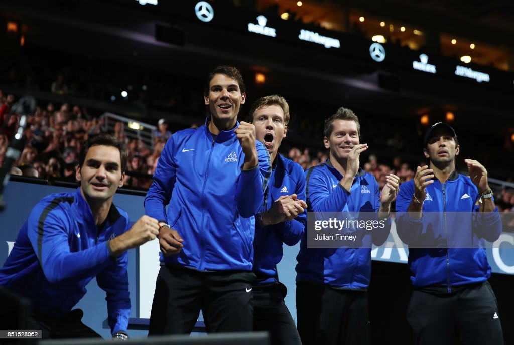 Roger Federer, Rafael Nadal, Tomas Berdych, Thomas Enqvist and Fernando Verdasco of Team Europe celebrate as they watch the singles match between Dominic Thiem of Team Europe and John Isner of Team World on the first day of the Laver Cup on September 22, 2017 in Prague, Czech Republic. The Laver Cup consists of six European players competing against their counterparts from the rest of the World. Europe will be captained by Bjorn Borg and John McEnroe will captain the Rest of the World team. The event runs from 22-24 September.
