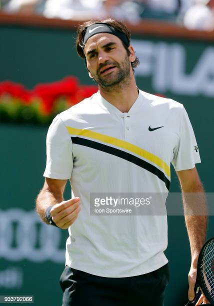 Roger Federer reacts after losing a point during the finals of the BNP Paribas Open on March 18 at the Indian Wells Tennis Gardens in Indian Wells CA