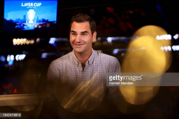 Roger Federer reacts during an interview with Andy Roddick during Day 2 of the 2021 Laver Cup at TD Garden on September 25, 2021 in Boston,...
