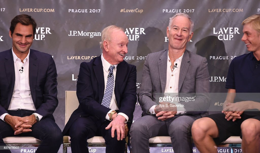 Roger Federer, Rod Laver, John McEnroe and Denis Shapovalov attend Laver Cup Team Announcement on August 23, 2017 in New York City.