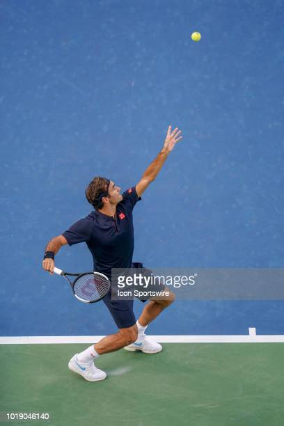 Roger Federer serves during the semifinal match at the Western Southern Open at the Lindner Family Tennis Center in Mason Ohio on August 18 2018