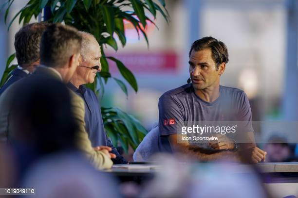 Roger Federer speaks on the set of ESPN after the semifinal match at the Western Southern Open at the Lindner Family Tennis Center in Mason Ohio on...