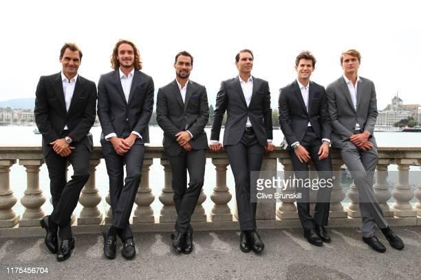 Roger Federer, Stefanos Tsitsipas, Fabio Fognini, Rafael Nadal, Dominic Thiem and Alexander Zverev, of Team Europe pose for a photo prior to the...