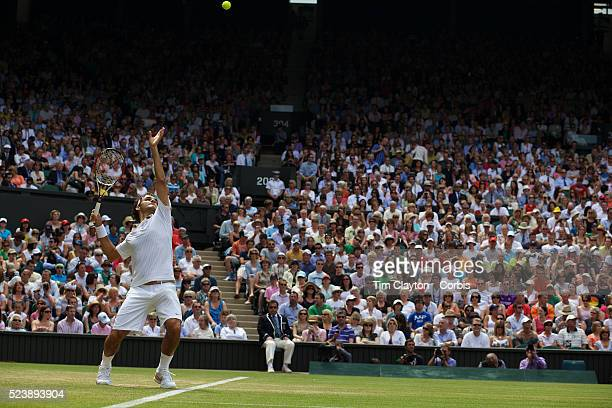 Roger Federer Switzerland in action during his victory over Philipp Kohlschreiber Germany on centre court during the third round of the Mens Single...
