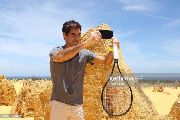 Roger Federer takes a selfie at the Pinnacles Desert ahead of the 2019 Hopman Cup on December 27 2018 in Cervantes Australia