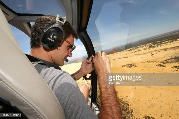 Roger Federer takes a selfie from the helicopter before landing at the Pinnacles Desert ahead of the 2019 Hopman Cup on December 27 2018 in Cervantes...